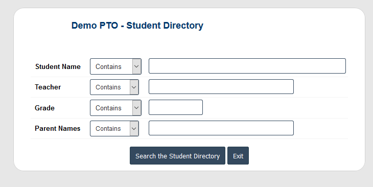 RunPTO Student Directory Search Feature