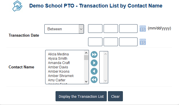 PTO Accounting Software - PTO Account Contact wise Transaction Report