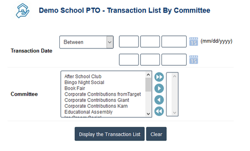 PTO Accounting Software - PTO Account Committee wise Transaction Report
