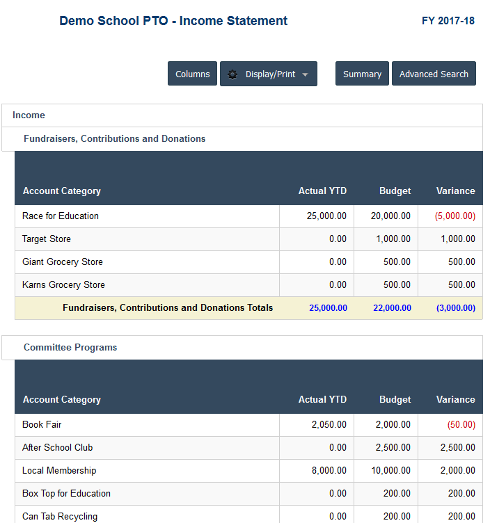 PTO Accounting Software - PTO Income Statement