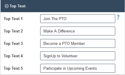 PTO Website Builder - Adding Top Text