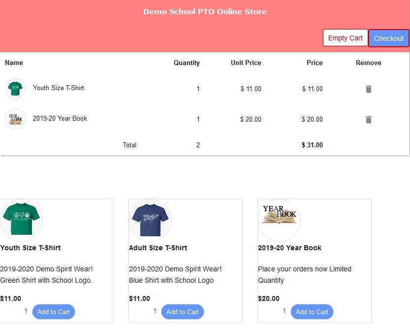 RunPTO Online Store Checkout