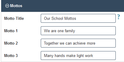 PTO Website Builder - Adding School Mottos