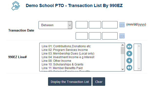 PTO Accounting Software - PTO 990EZwise Transaction Report