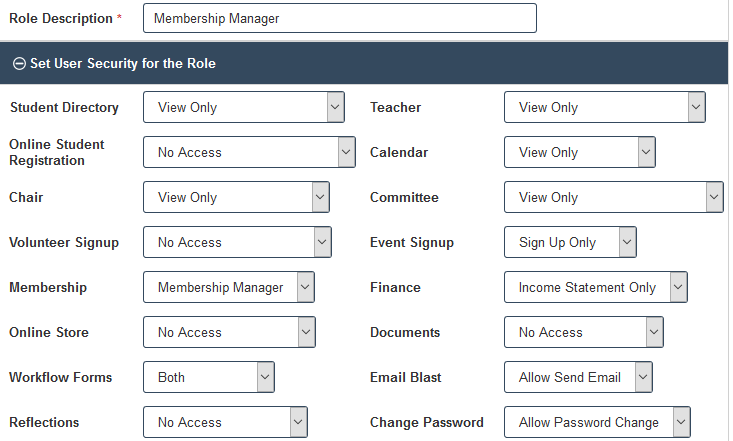 Membership Manager Security Role