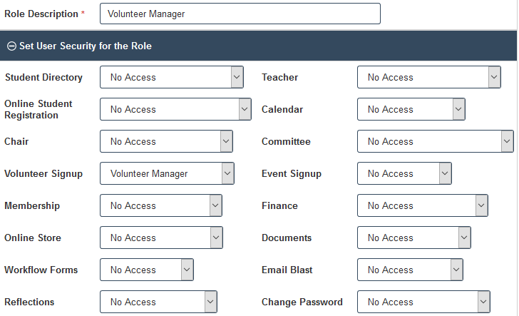 Volunteer Manager Security Role