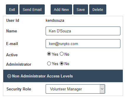 Volunteer Manager Role Assignment