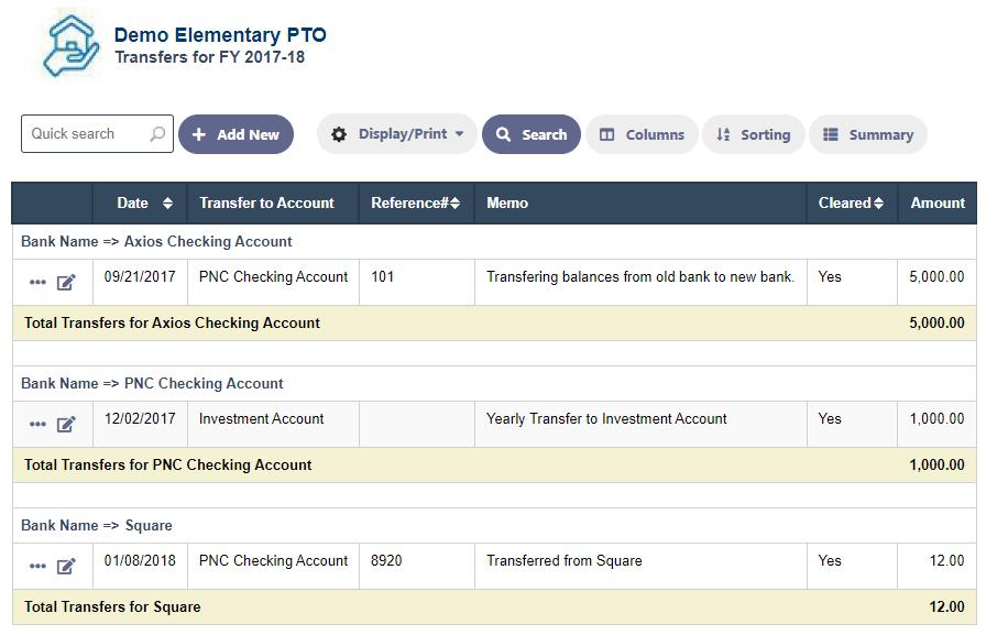 RunPTO Transfer Transactions